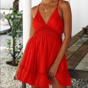 Red summer dress, lace spaghetti strap, open back